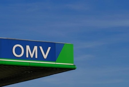 The logo of Austrian energy group OMV is seen outside of one of its fuel stations near Salzburg