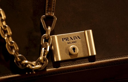 FILE PHOTO: File photo of a Prada product inside a display window at the financial Central district of Hong Kong