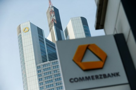 FILE PHOTO: A Commerzbank logo is pictured on the side of a building in Frankfurt