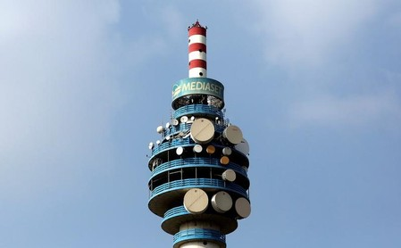 The Mediaset tower is seen in Cologno Monzese neighbourhood Milan
