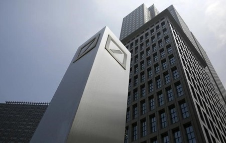 FILE PHOTO : Logos of Deutsche Bank AG are seen in Tokyo