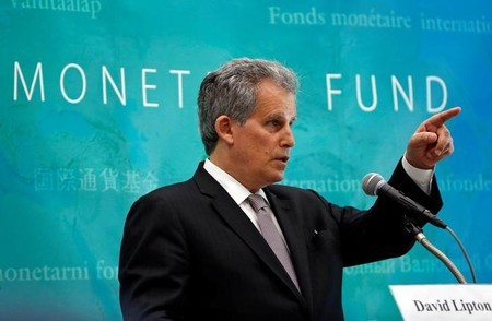 IMF Deputy Managing Director David Lipton speaks at a news conference in Tokyo