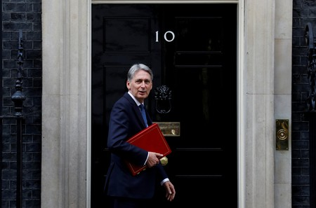 FILE PHOTO: Britain's Chancellor of the Exchequer Philip Hammond arrives at 10 Downing Street in London