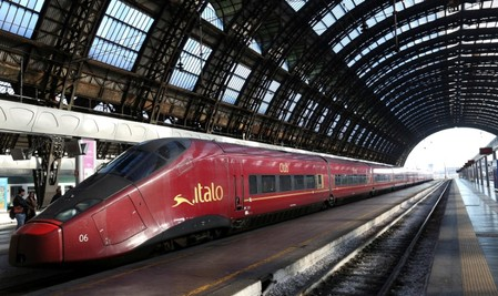 Italo' high-speed train for the NTV (Nuovo Trasporto Viaggiatori) is seen at the Central railway station in Milan