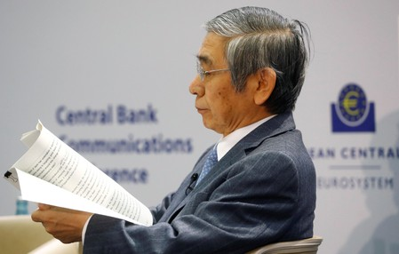 Central Bank Governor Haruhiko Kuroda of the Bank of Japan attends ECB's Central Bank Communications Conference in Frankfurt