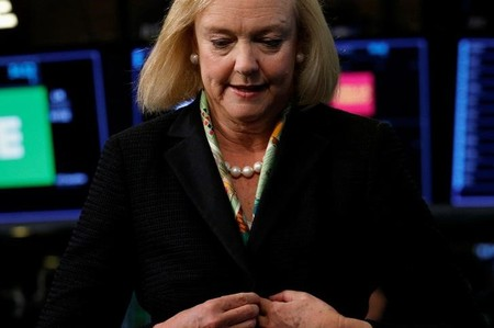 Hewlett Packard Enterprise CEO Meg Whitman reacts following an interview on CNBC on the floor of the NYSE in New York