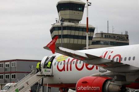 A Niki Air Berlin plane is seen at Tegel airport in Berlin