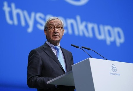 ThyssenKrupp supervisory board chairman Ulrich Lehner addresses the company's annual shareholders meeting in Bochum