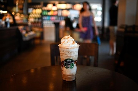 A S'mores Frappuccino Blended Coffee rests on a table at a Starbucks coffeehouse in Austin