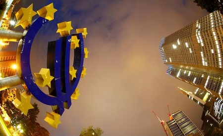 FILE PHOTO: FILE PHOTO: The euro sign landmark is seen at the headquarters of the European Central Bank (ECB) in Frankfurt