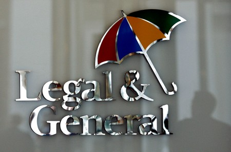 FILE PHOTO: The logo of Legal & General insurance company is seen at their office in central London