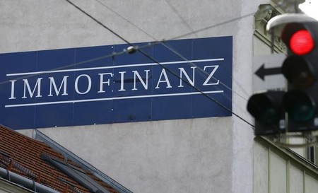 The logo of Austrian property group Immofinanz adorns wall of a house in Vienna