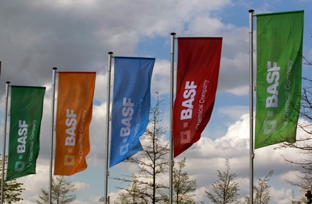 Flags of the German chemical company BASF are pictured in Monheim