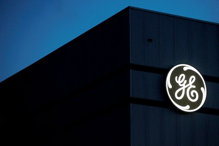 FILE PHOTO - The General Electric logo is pictured on the General Electric offshore wind turbine plant in Montoir-de-Bretagne