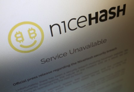 FILE PHOTO - A notice announcing that service is unavailable is displayed on the website of Slovenian cryptocurrency mining firm NiceHash