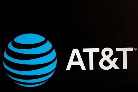 FILE PHOTO - The AT&T logo is pictured during the Forbes Forum 2017 in Mexico City