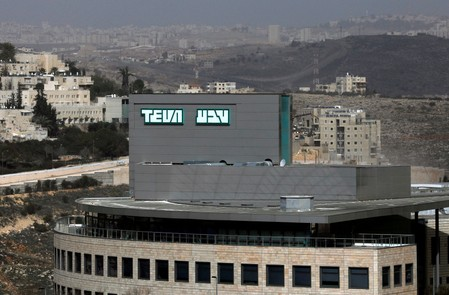 FILE PHOTO: The logo of Teva Pharmaceutical Industries, the world's biggest generic drugmaker and Israel's largest company, is seen in Jerusalem