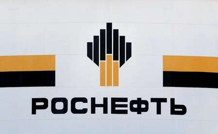 FILE PHOTO:The logo of Russia's Rosneft oil company is pictured at the central processing facility of the Rosneft-owned Priobskoye oil field outside the West Siberian city of Nefteyugansk