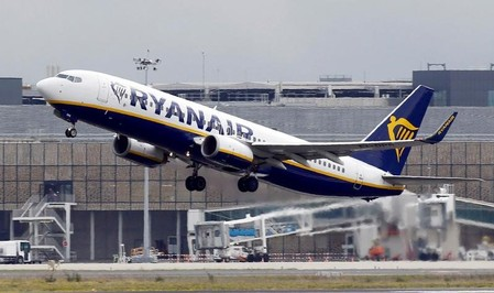 Ryanair commercial passenger jet takes off in Colomiers near Toulouse