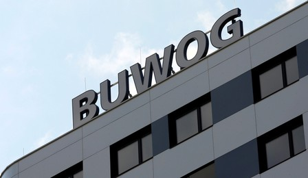 FILE PHOTO - The logo of Austrian property group Buwog is pictured on an office building in Vienna