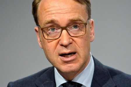 Bundesbank President Weidmann makes remarks at a press briefing during the IMF and World Bank's 2017 Annual Spring Meetings, in Washington