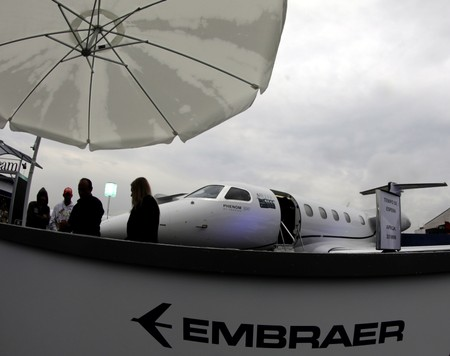 The Embraer Phenom 300 is displayed during the Latin American Business Aviation Conference & Exhibition fair (LABACE) at Congonhas airport in Sao Paulo