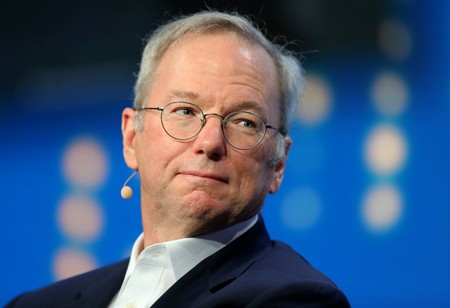 FILE PHOTO: Alphabet's Executive Chairman Eric Schmidt looks on during the Milken Institute Global Conference in Beverly Hills