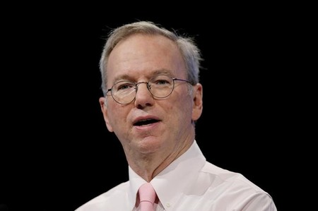 Eric Schmidt, executive chairman of Alphabet Inc. delivers a speech at the Viva Technology conference in Paris