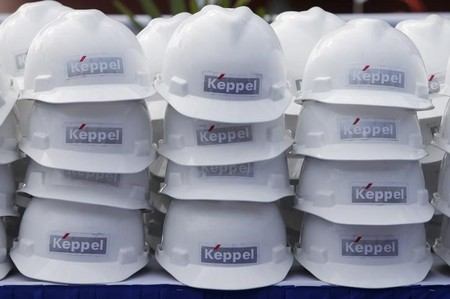 FILE PHOTO - Hard hats for visitors during the Keppel FELS delivery ceremony of their semi-submersible accommodation rig to Floatel at their shipyard in Singapore