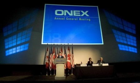 FILE PHOTO : Gerald Schwartz, Chairman and CEO of Onex Corporation, addresses shareholders in Toronto
