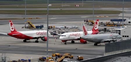 FILE PHOTO: Air Berlin aircraft parks next to a Niki airplane at Vienna International Airport in Schwechat
