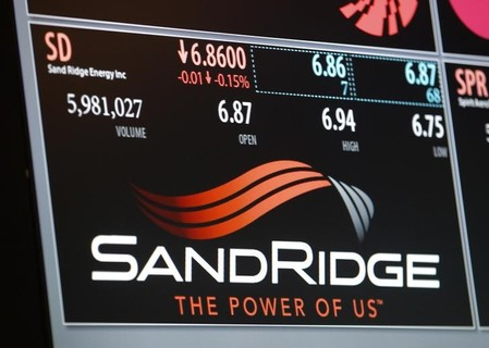 An electronic display identifies the post that trades SandRidge Energy stock on the floor of the New York Stock Exchange