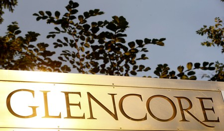 FILE PHOTO:The logo of commodities trader Glencore is pictured in Baar
