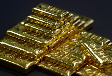 FILE PHOTO - Gold bars are seen in the Austrian Gold and Silver Separating Plant 'Oegussa' in Vienna