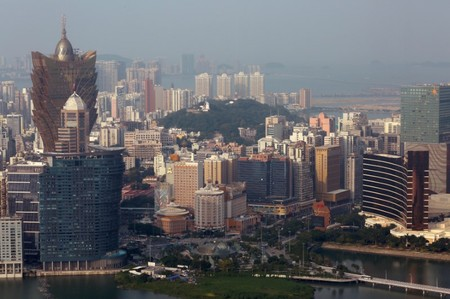 FILE PHOTO: Casinos are seen in a general view of Macau