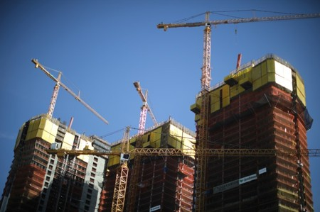 Construction is seen in downtown Los Angeles