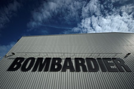 The Bombardier logo is seen at the Bombardier factory in Belfast