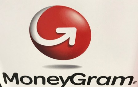 The MoneyGram logo is seen on a kiosk in New York