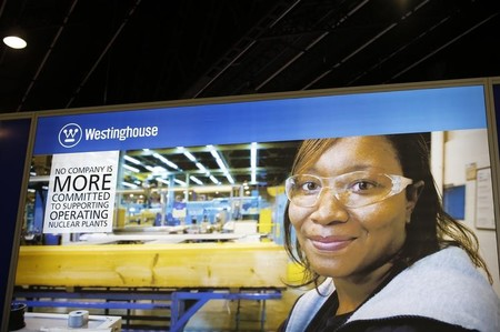 FILE PHOTO - The logo of the American company Westinghouse is pictured at the World Nuclear Exhibition 2014 in Le Bourget