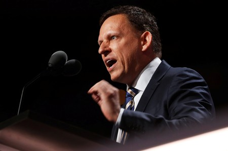 FILE PHOTO:    Paypal co-founder Peter Thiel speaks at the Republican National Convention in Cleveland