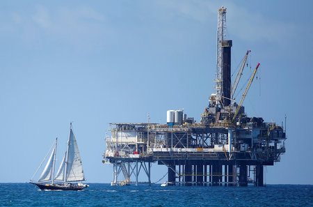 FILE PHOTO: An offshore oil platform is seen in Huntington Beach