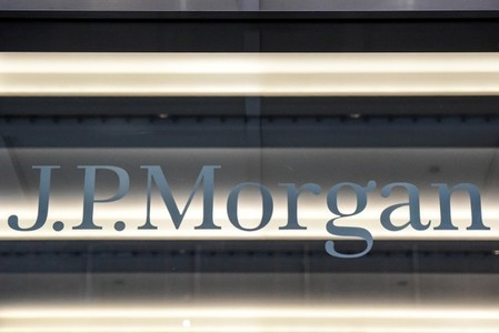 A J.P. Morgan logo is seen in New York City