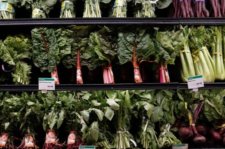 FILE PHOTO: Vegetables for sale are pictured inside a Whole Foods Market in the Manhattan borough of New York City