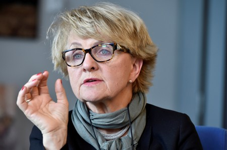 FILE PHOTO: Danuta Hubner, chair of the constitutional committee of the EP gestures during an interview in Brussels