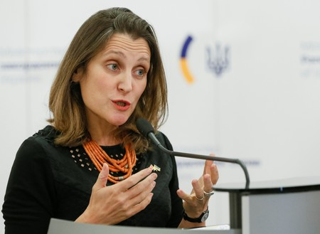 FILE PHOTO - Canada's Foreign Minister Chrystia Freeland attends a news briefing in Kiev