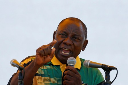 President of the ANC Cyril Ramaphosa addresses his supporters during the ANC's 106th anniversary celebrations, in East London, South Africa