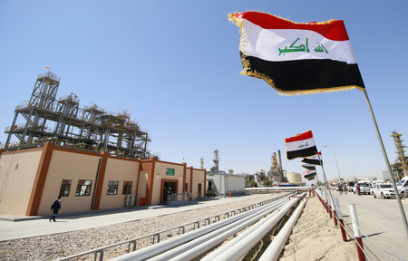 A view shows the al-Shuaiba oil refinery in southwest Basra