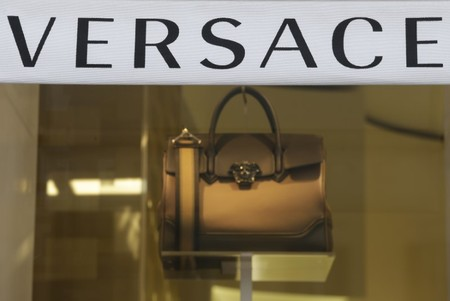 FILE PHOTO -  Versace logo is seen in a shop in downtown Rome