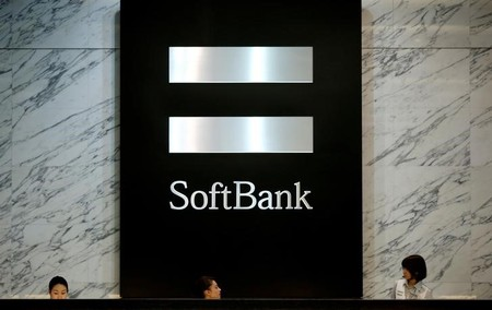 FILE PHOTO: Logo of SoftBank Group Corp is seen at the company's headquarters in Tokyo