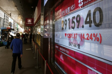 The falling Hang Seng Index is shown on a panel outside a bank in Hong Kong